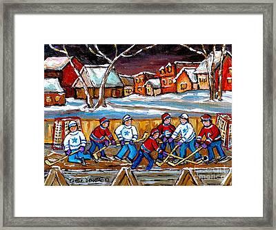 Painting Hockey Art Hockey Sticks Hockey Goalies Best Original Hockey Art  Framed Print by Carole Spandau