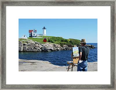 Painting Nubble Lighthouse Framed Print