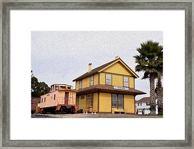 Painting Oceano Depot Museum Framed Print by Barbara Snyder