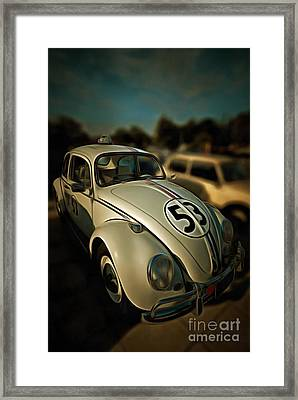 Painting Of 1963 Volkswagen Herbie With Toy Car On Roof Framed Print by George Atsametakis