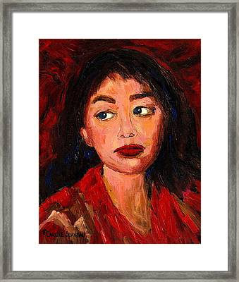 Painting Of A Dark Haired Girl Commissioned Art Framed Print by Carole Spandau