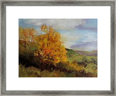 Painting Of A Golden Tree Framed Print by Cheri Wollenberg