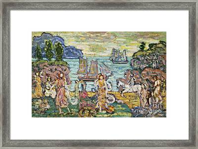 Painting Of A Seaside Scene Framed Print by MotionAge Designs