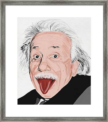 Painting Of Albert Einstein Framed Print by Setsiri Silapasuwanchai
