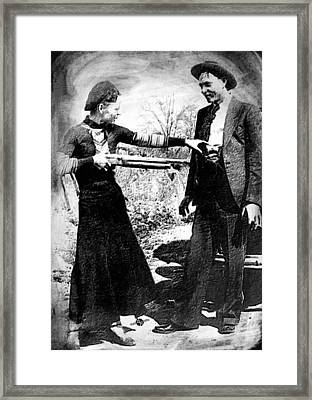 Painting Of Bonnie And Clyde Mock Hold Up Black And White Framed Print