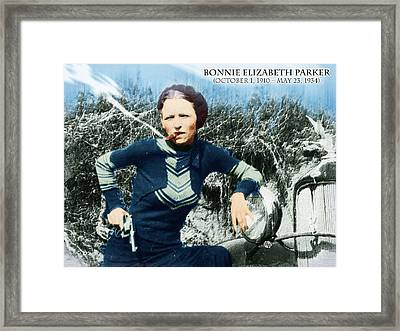 Painting Of Bonnie Parker Of Bonnie And Clyde 1 With Text Framed Print