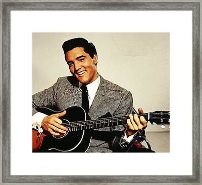 Painting Of Early Young Elvis With Guitar Framed Print by Elaine Plesser