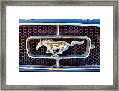 Painting Of Ford Mustang Badge Framed Print by George Atsametakis