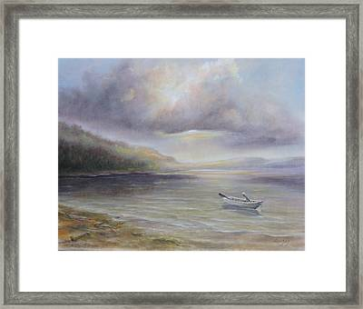 Beach By Sruce Run Lake In New Jersey At Sunrise With A Boat Framed Print
