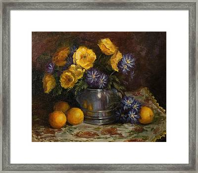 Painting Of Oranges And Poppies Framed Print by Cheri Wollenberg