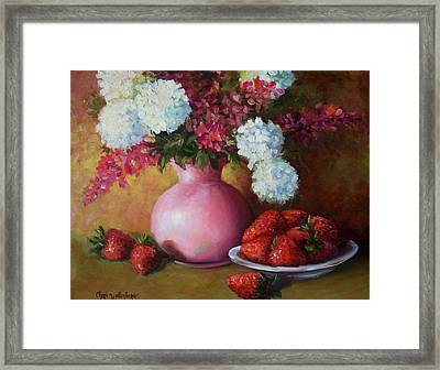 Painting Of Pink Pitcher And Strawberries Framed Print by Cheri Wollenberg