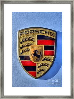 Painting Of Porsche Badge Framed Print by George Atsametakis