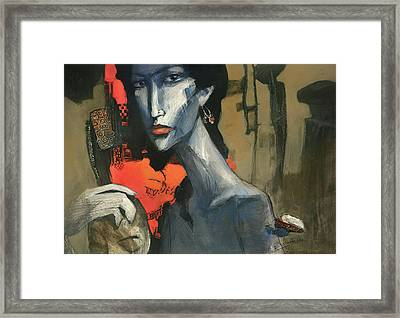 Painting Of The Lady _ 1 Framed Print by Behzad Sohrabi