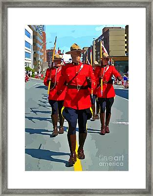 Painting Of The Royal Canadian Mounted Police Framed Print