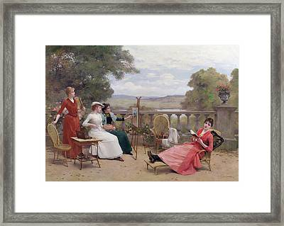 Painting On The Terrace Framed Print by Jules Frederic Ballavoine