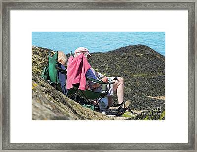 Painting On Thebeach Framed Print by Terri Waters