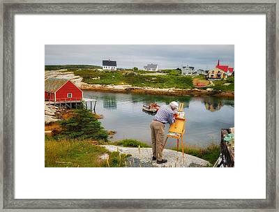 Painting Peggys Cove Framed Print