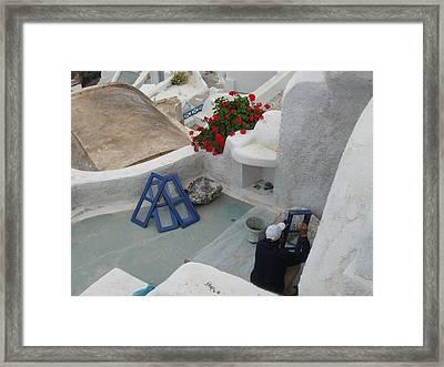 Painting Shutters In Santorini Greece Framed Print by Nikki Borden