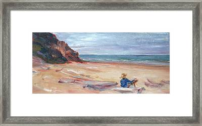 Painting The Coast - Scenic Landscape With Figure Framed Print by Quin Sweetman