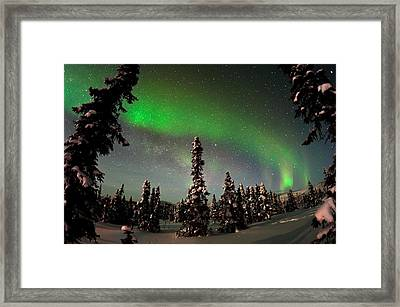 Painting The Sky With The Northern Lights Framed Print by Mike Berenson