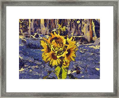 Painting With Five Sunflowers Framed Print
