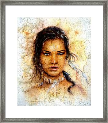 Painting Young Indian Woman Wearing A Feather Eye Cont Crackle Background. Framed Print by Jozef Klopacka