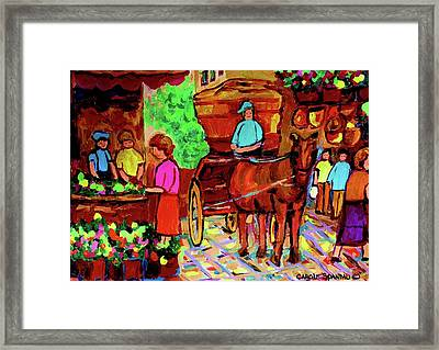 Paintings Of Montreal Streets Old Montreal With Flower Cart And Caleche By Artist Carole Spandau Framed Print by Carole Spandau