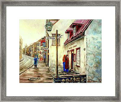 Paintings Of Quebec Landmarks Aux Anciens Canadiens Restaurant Rainy Morning October City Scene  Framed Print by Carole Spandau