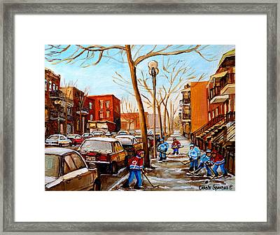 Paintings Of Verdun Streets In Winter Hockey Game Near Row Houses Montreal City Scenes Framed Print by Carole Spandau