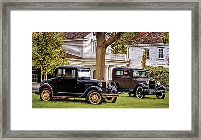 Framed Print featuring the photograph Pair Of Ford Model A  by Susan Rissi Tregoning