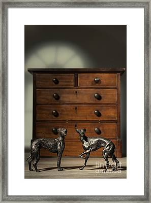 Pair Of Greyhound Dog Figures Framed Print by Amanda Elwell