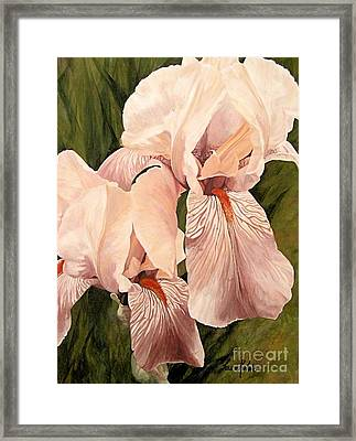 Framed Print featuring the painting Pair Of Peach Iris  by Laurie Rohner