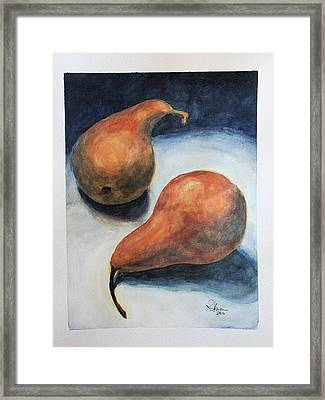 Framed Print featuring the painting Pair Of Pears by Rachel Hames