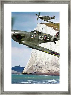 Pair Of Raf P-51 Mustangs W Donald Duck Nose Art Framed Print by Thomas Pollart