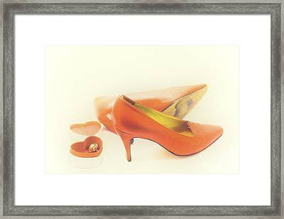 Pair Of Red High Heeled Shoes Framed Print
