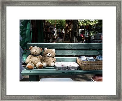 Teddy Bear Lovers On The Banch Framed Print
