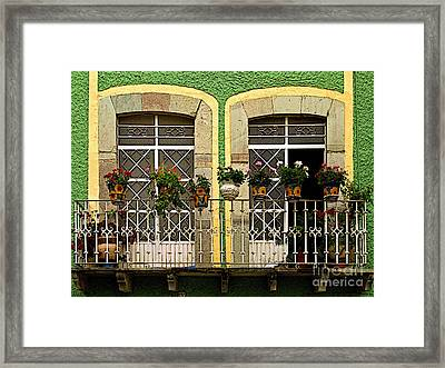 Pair Of Windows In Green Framed Print by Mexicolors Art Photography