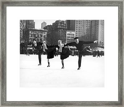 Pairs Skating In Central Park Framed Print by American School