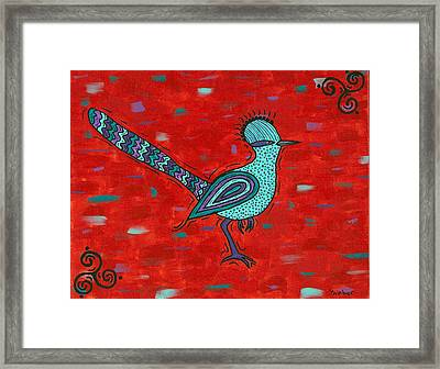 Paisano Petra - Roadrunner Framed Print by Susie WEBER