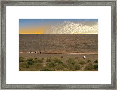 Pakefield Beach Sunset Framed Print by David French