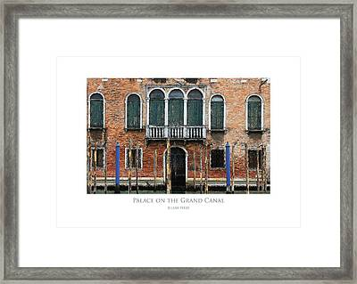 Framed Print featuring the digital art Palace On The Grand Canal by Julian Perry