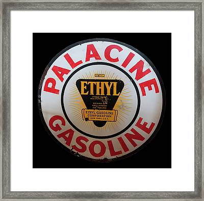 Framed Print featuring the photograph Palacine Gasoline Sign by Chris Flees