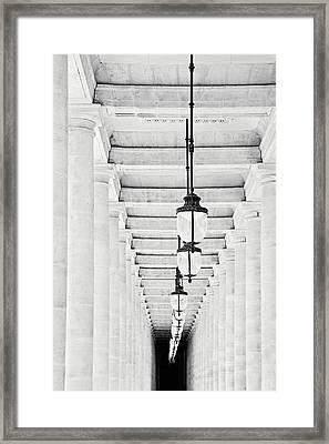 Palais-royal Arcade Black And White - Paris, France Framed Print