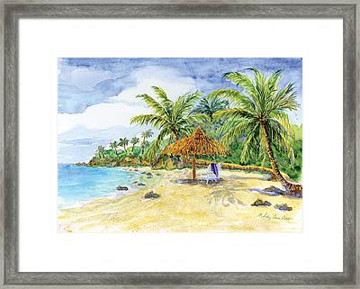 Palappa N Adirondack Chairs On A Caribbean Beach Framed Print