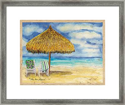 Palappa N Adirondack Chairs On The Mexican Shore Framed Print by Audrey Jeanne Roberts