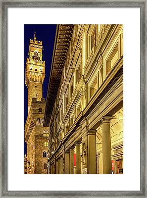 Palazzo Vecchio And The Uffizi At Twilight Framed Print by Andrew Soundarajan