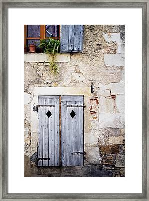 Pale Blue Window Shutters Framed Print