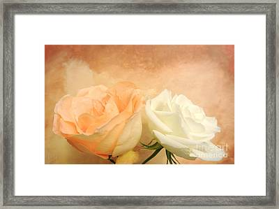 Pale Peach And White Roses Framed Print by Marsha Heiken