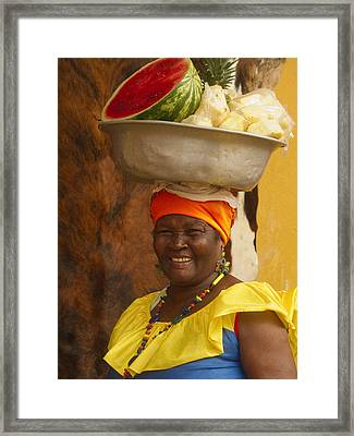 Palenquera In Cartagena Colombia Framed Print