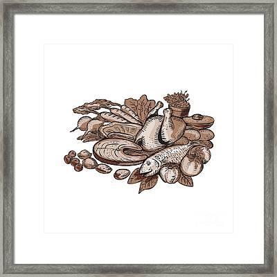 Paleo Diet Etching Framed Print by Aloysius Patrimonio